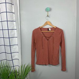 H&M Rust Ribbed Lace-Up Top